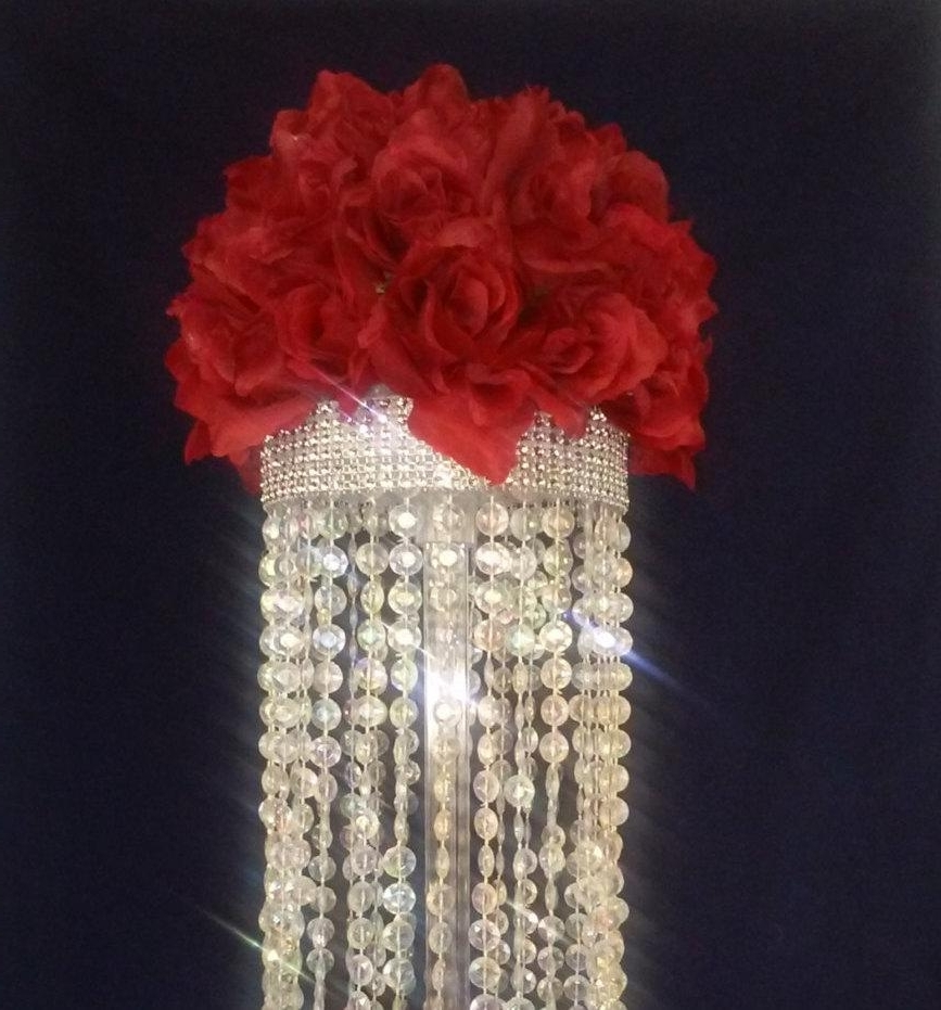 Most Up To Date Faux Crystal Chandelier Centerpieces Within Crystal Chandelier Table Centerpiece (Limited Time Only) – Wedding (View 15 of 15)