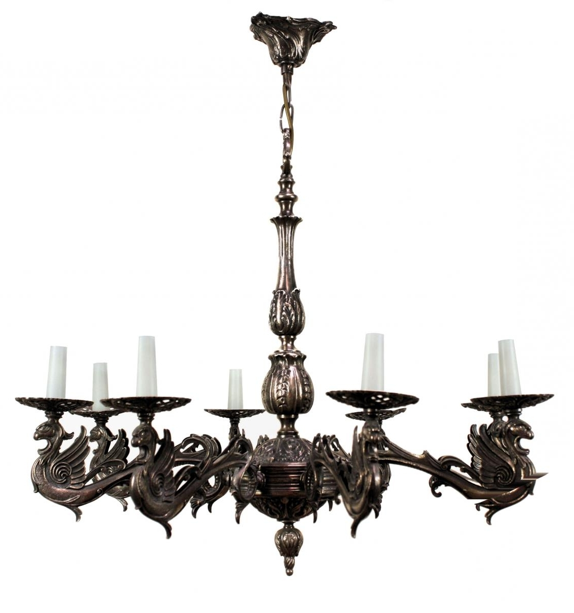 Most Up To Date French Silvered Bronze Gothic Style Chandelier, 1900S For Sale At Pamono Within French Style Chandelier (View 2 of 15)