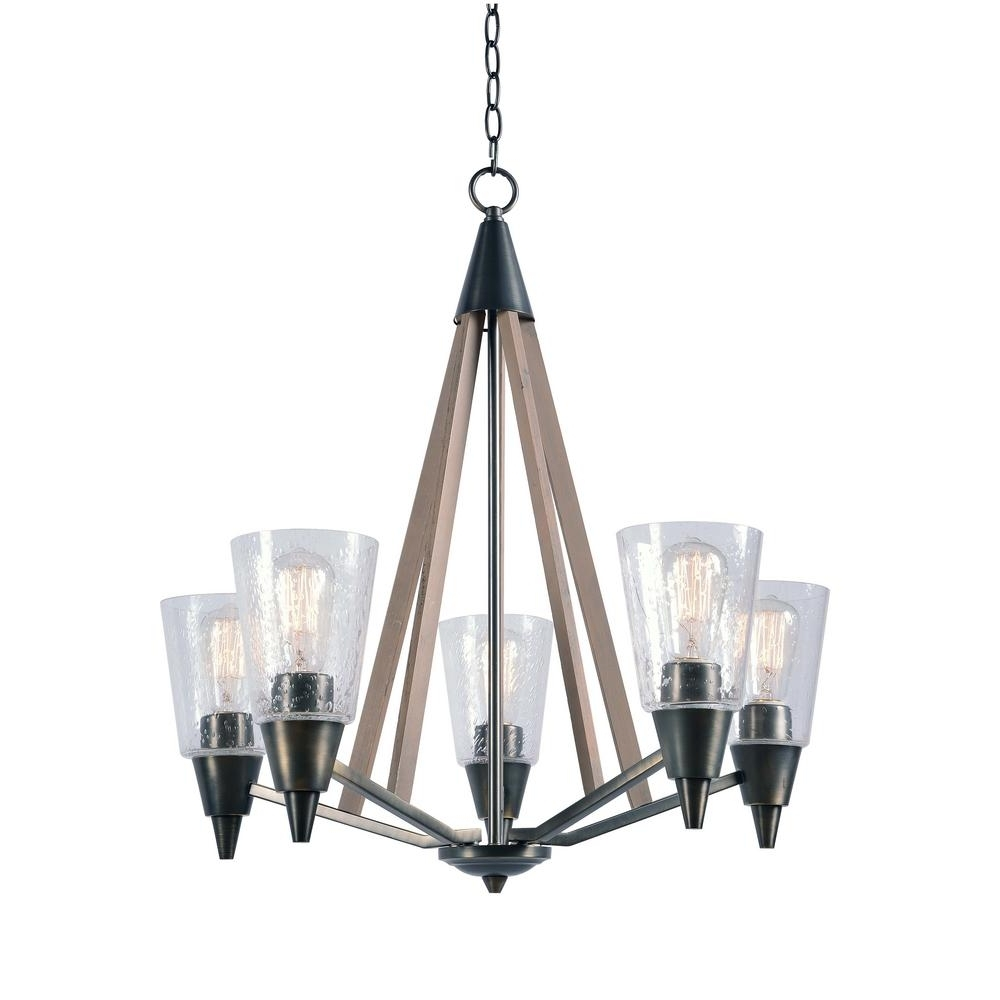 Most Up To Date Kenroy Home Peak 5 Light Metal Chandelier With Clear Glass Shade Inside Metal Chandeliers (View 8 of 15)