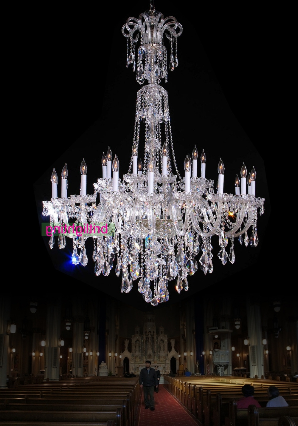 Most Up To Date Large Chandelier With Crystal Pendants Big Lamp For Hotel Extra With Regard To Large Chandeliers (View 11 of 15)