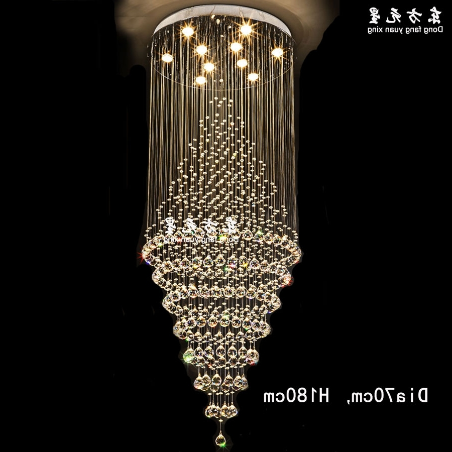 Most Up To Date Long Chandelier Light Intended For Crystal Chandelier Led Lamp Stair Light Droplight Villa Double Entry (View 7 of 15)