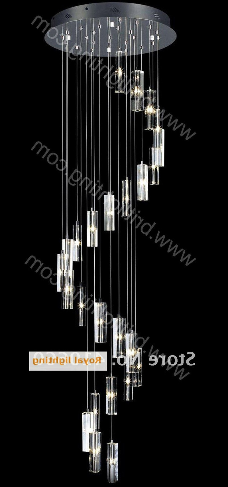Most Up To Date Long Stair Lighting Pendant Crystal Chandelier Lamp Large Round Led With Regard To Long Chandelier (View 7 of 15)