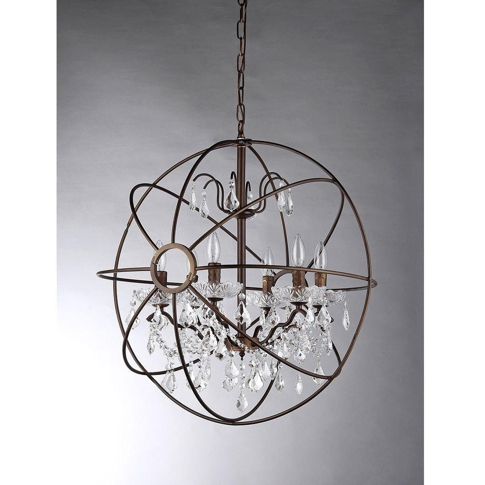 Most Up To Date Metal Sphere Chandelier Throughout Warehouse Of Tiffany Edwards 6 Light Antique Bronze Sphere Crystal (View 8 of 15)