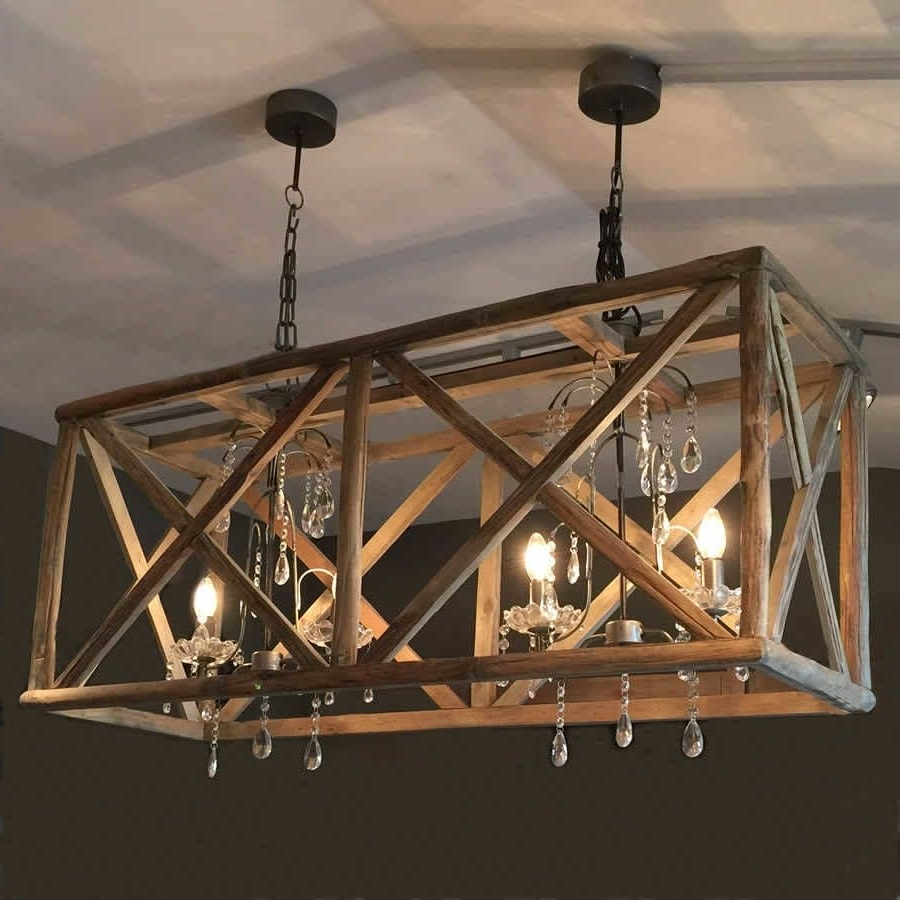 Most Up To Date Wooden Chandeliers With Large Wooden Chandelier With Metal And Crystal (View 8 of 15)