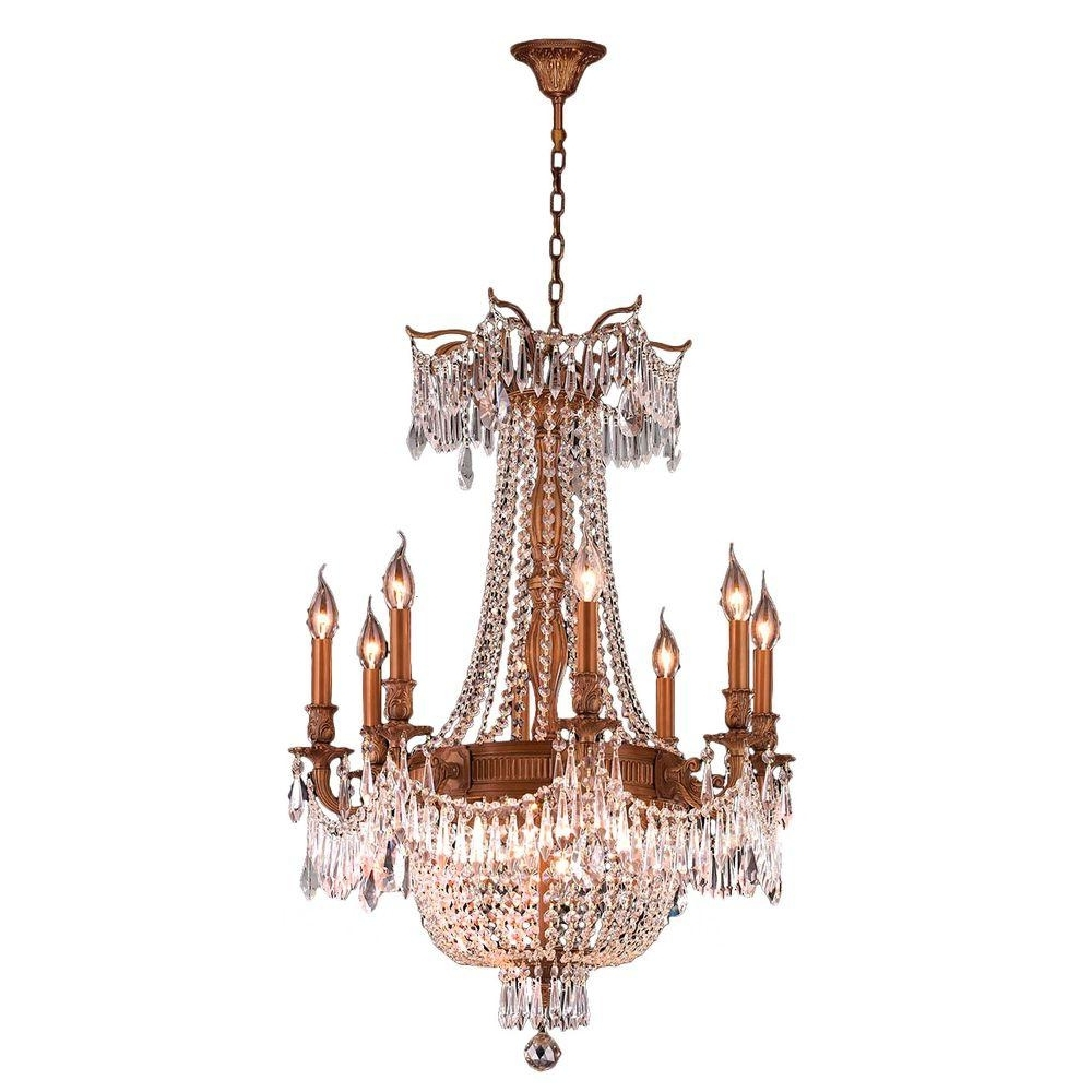Most Up To Date Worldwide Lighting Winchester Collection 12 Light French Gold And Throughout French Crystal Chandeliers (View 10 of 15)