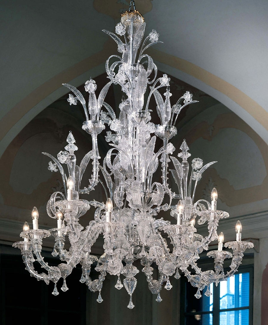 Murano Chandelier Large Ca Rezzonico L7061K12 Clear Glass – Murano With Recent Glass Chandeliers (View 8 of 15)
