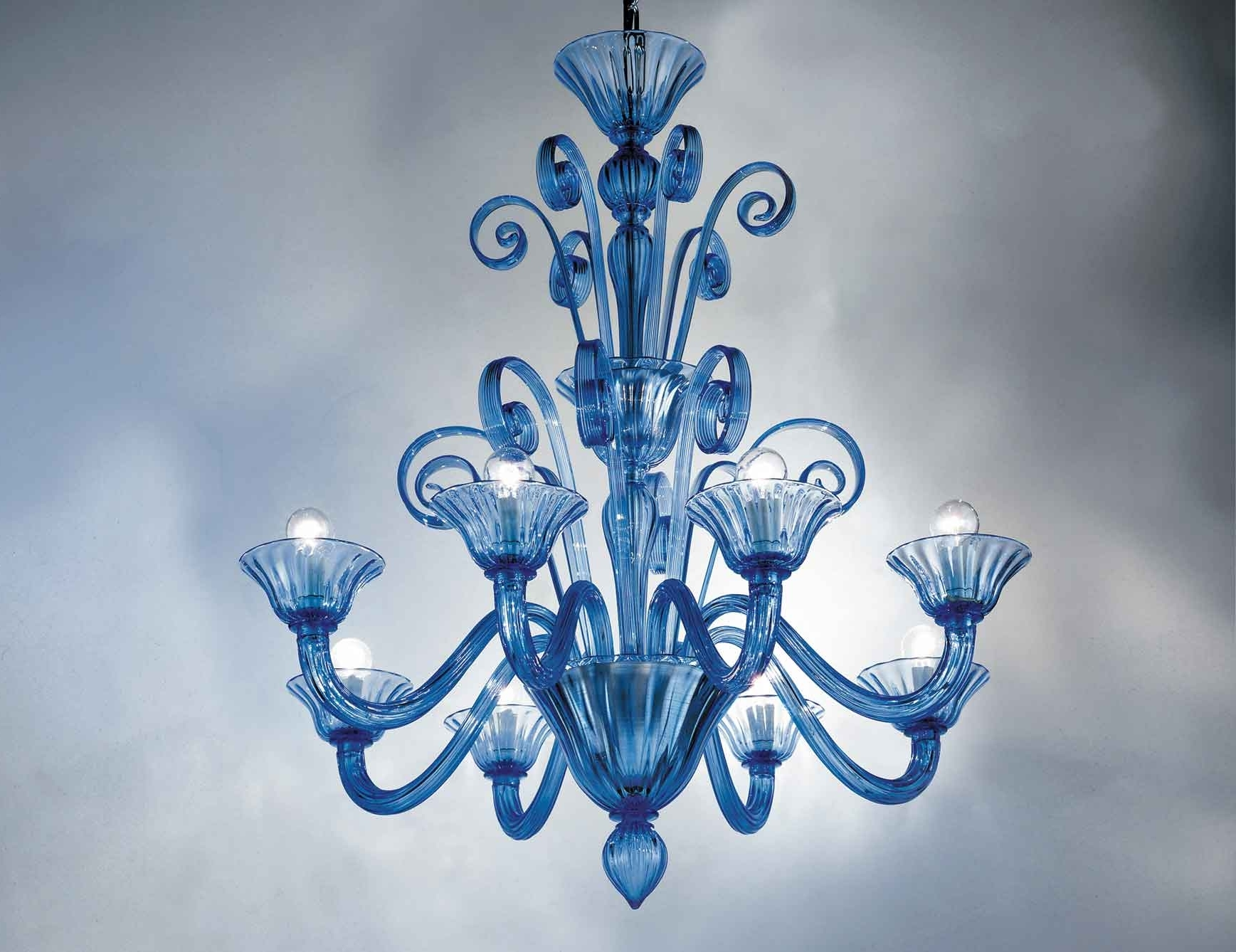 Murano Chandelier Replica Regarding Most Current Nella Vetrina Melissa 9003 08 Venetian Chandelier In Light Blue (View 8 of 15)