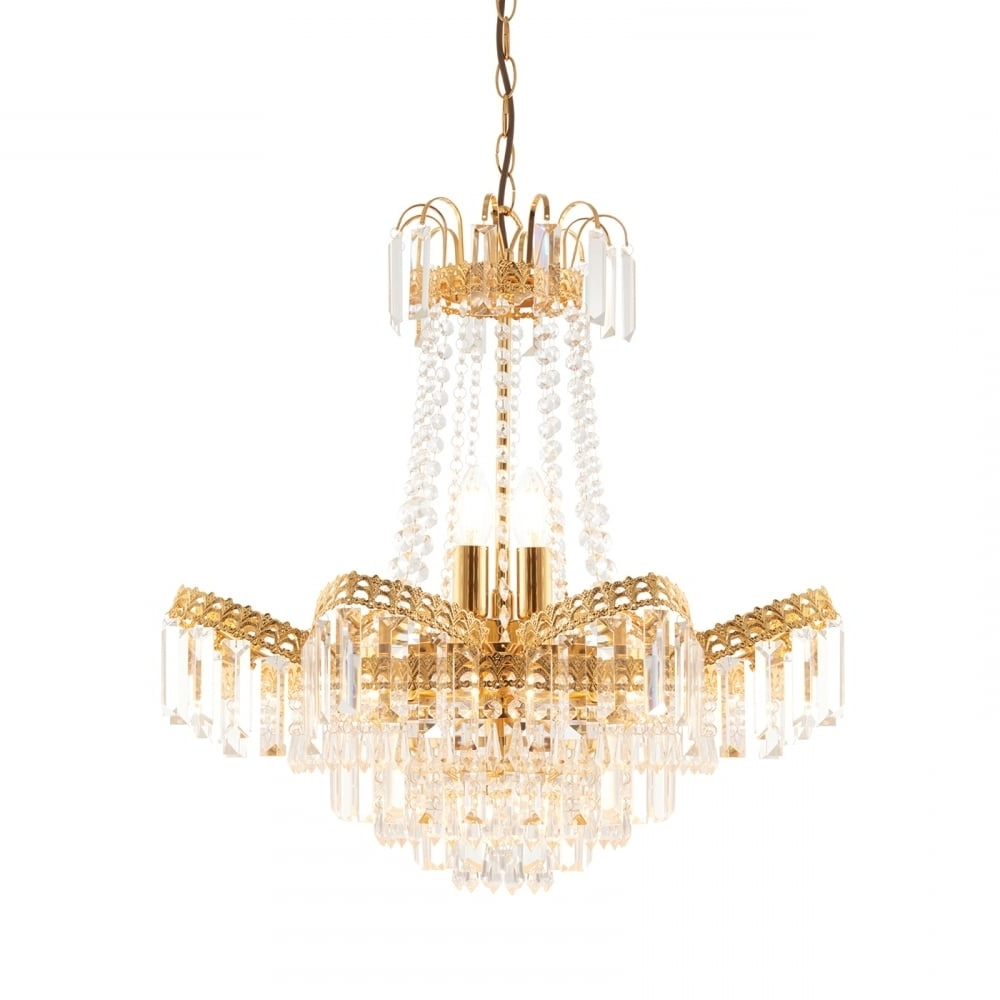 Newest Endon Adagio Gold Chandelier Light At Lovelights.co (View 13 of 15)