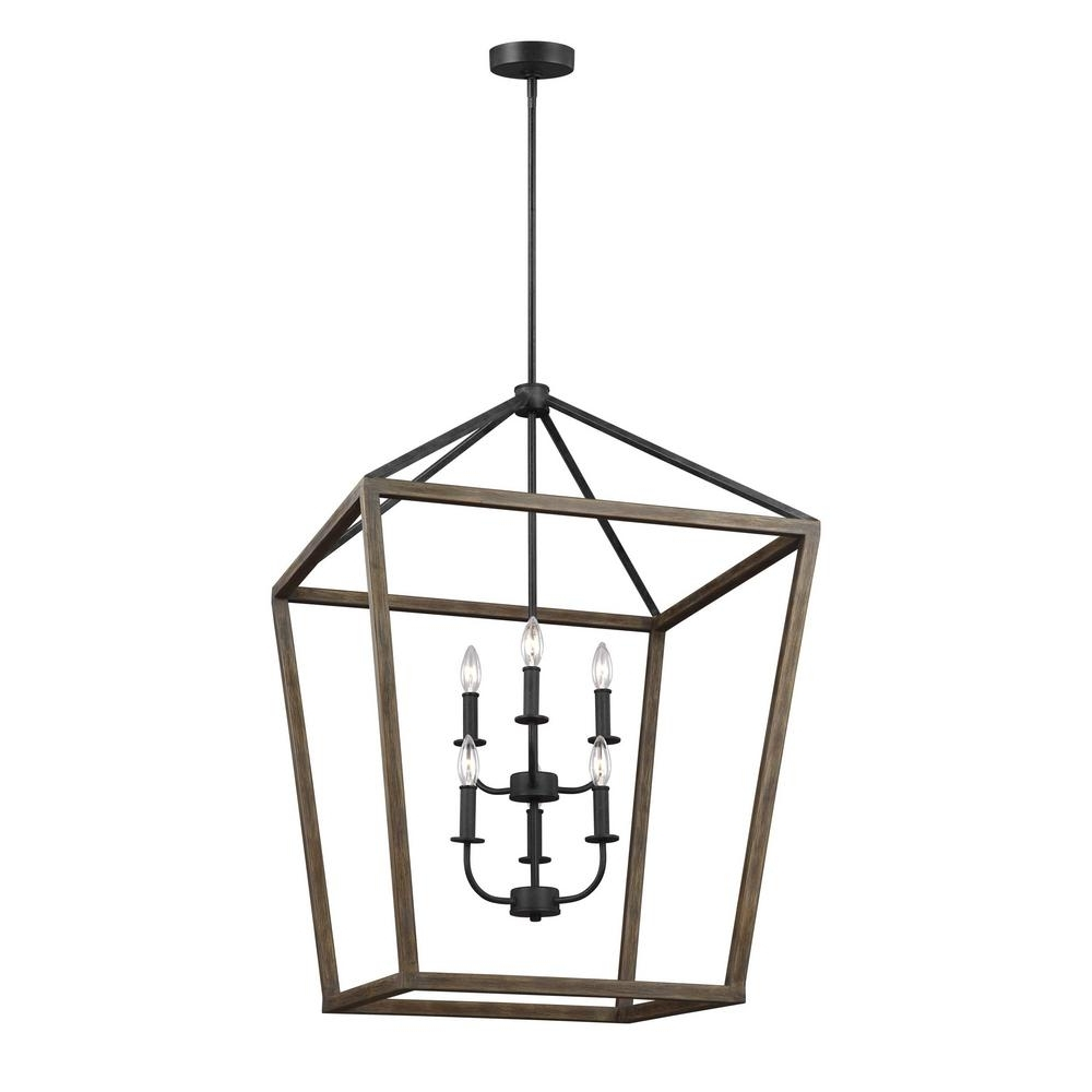 Newest Feiss Gannet 6 Light Weathered Oak Wood And Antique Forged Iron Within Iron Chandelier (View 5 of 15)