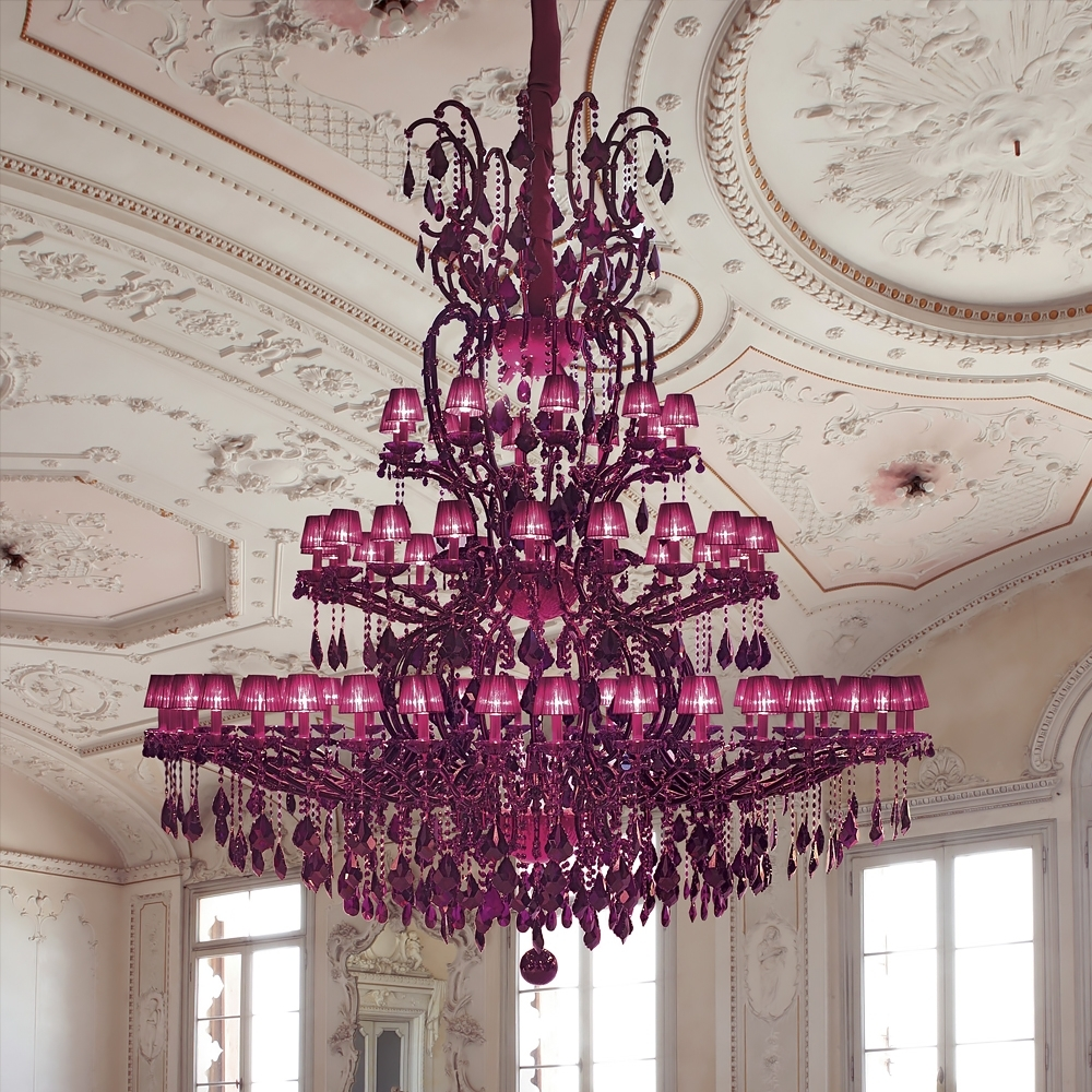 Newest Fuschia Chandelier Inside Large Fuchsia Pink Glass Chandelier (View 3 of 15)