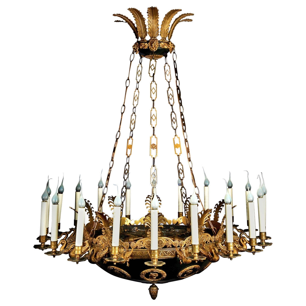Newest Large Bronze Chandelier Pertaining To Impressive And Large Antique French Empire Gilt And Patina Bronze (View 7 of 15)