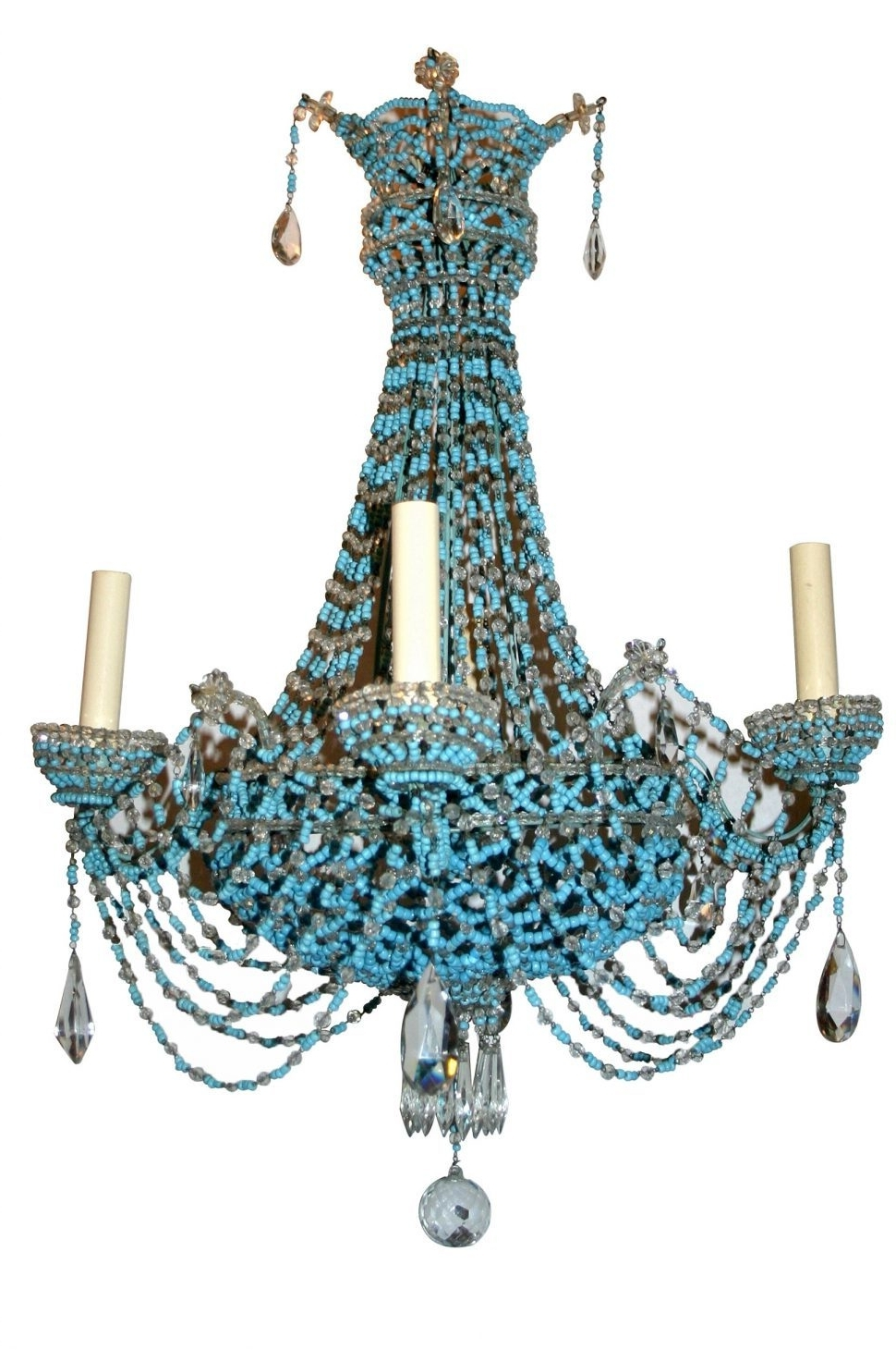 Newest Lighting : Regina Andrew Turquoise Chandelier Light Wood Diy Small Intended For Small Turquoise Beaded Chandeliers (View 8 of 15)