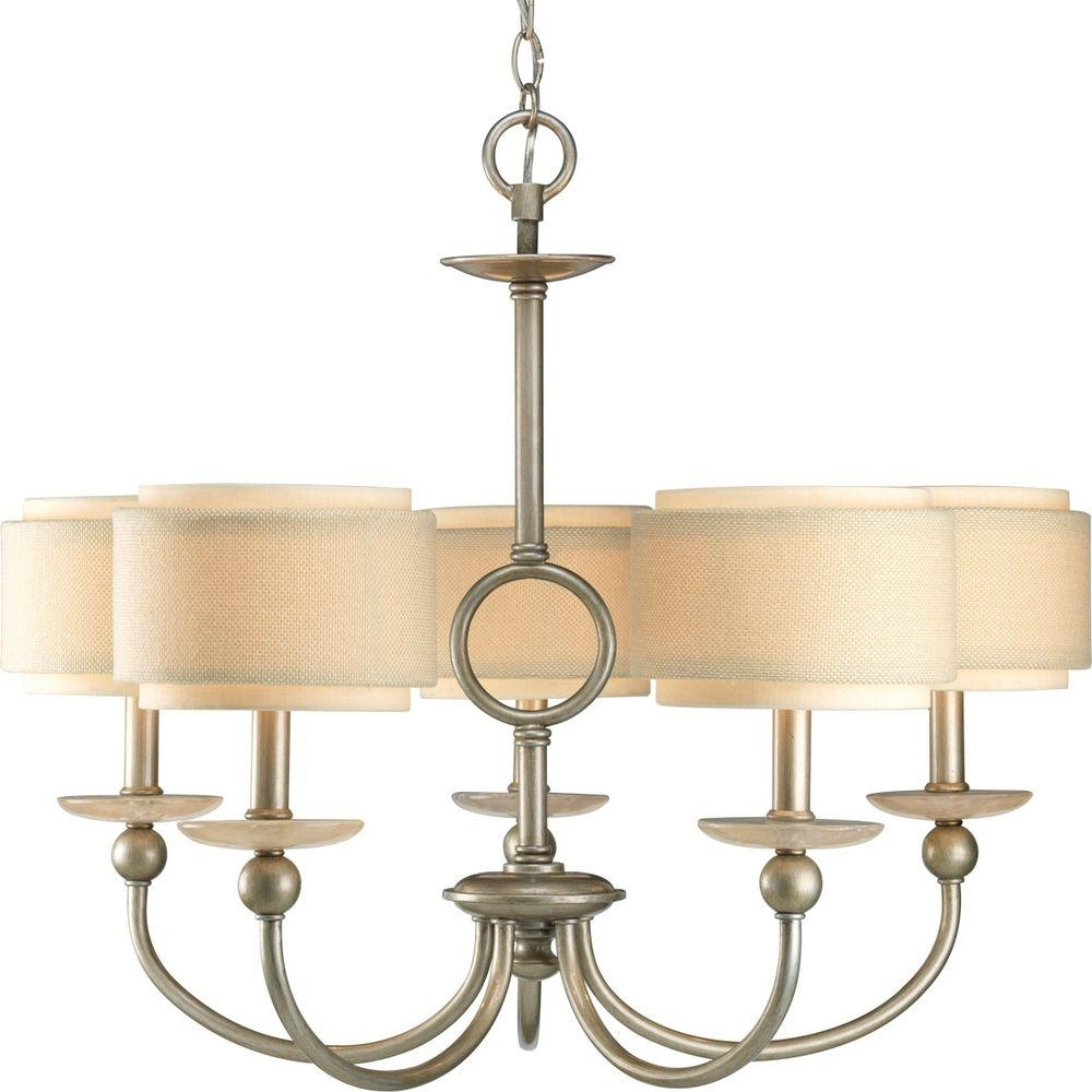 Newest Progress Lighting Flourish Collection 5 Light Cognac Chandelier With For Linen Chandeliers (View 10 of 15)