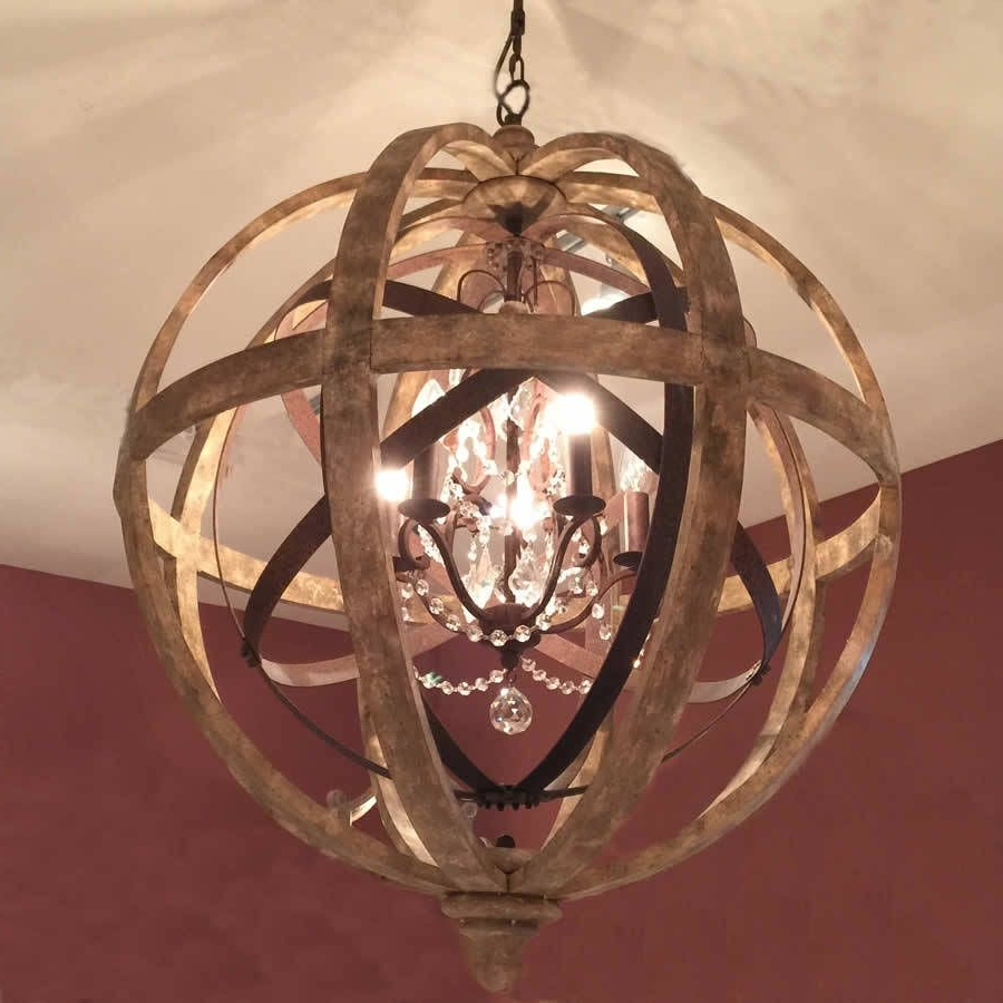 Newest Turquoise Orb Chandeliers Inside Wooden Orb Chandelier Metal Orb Detail And Crystal (View 5 of 15)