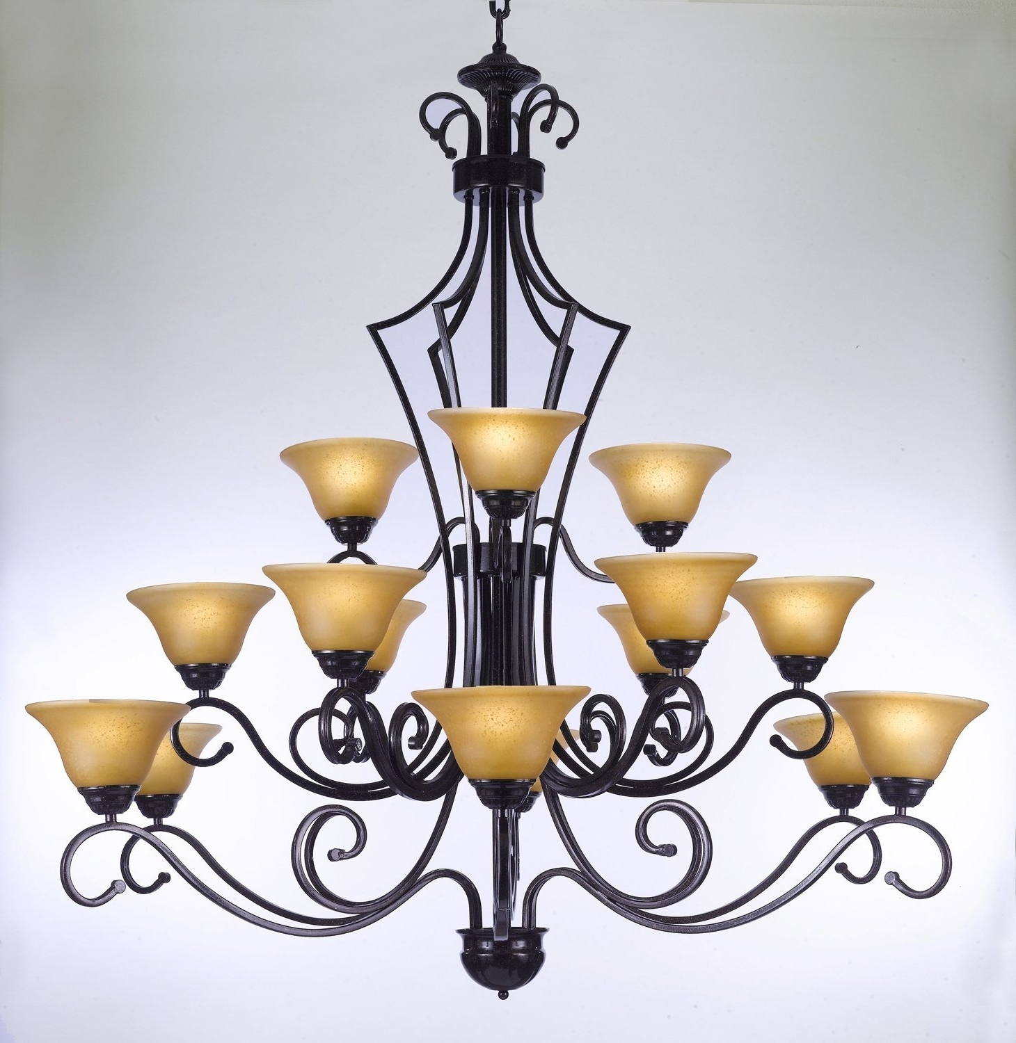 """Newest Wrought Iron Chandeliers Intended For Large Foyer Or Entryway Wrought Iron Chandelier H51"""" X W (View 2 of 15)"""