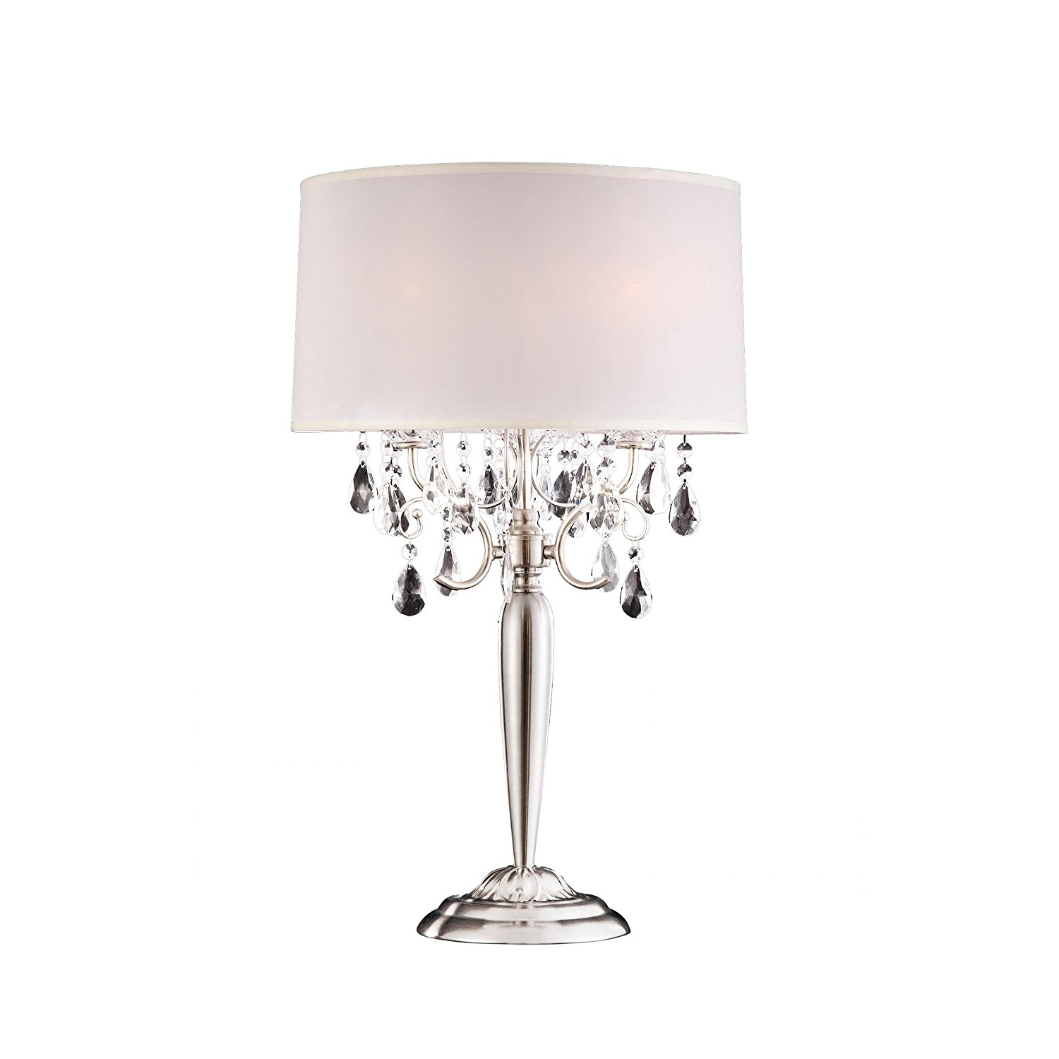 Ok 5109T 30 Inch Crystal Silver Table Lamp – Floor Lamps – Amazon Throughout Latest Small Crystal Chandelier Table Lamps (View 8 of 15)