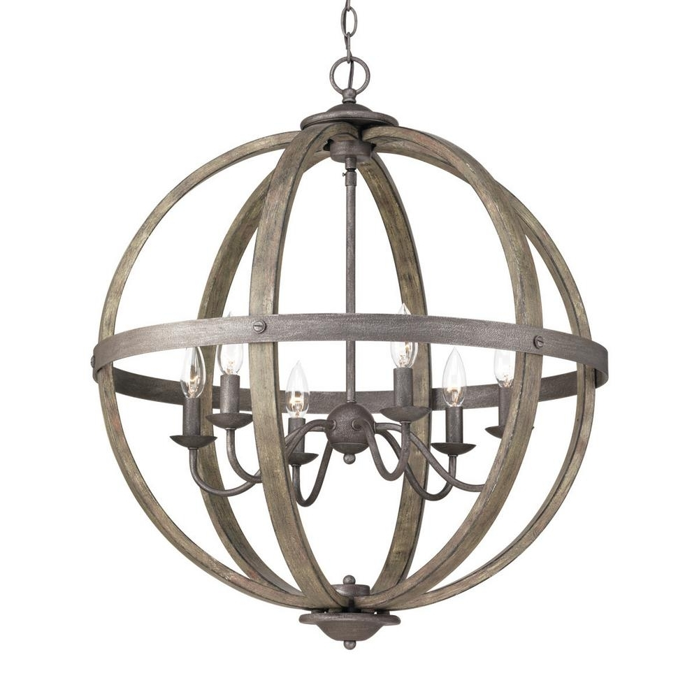 Orb Chandelier Intended For Fashionable Progress Lighting Keowee Collection 6 Light Artisan Iron Orb (View 7 of 15)
