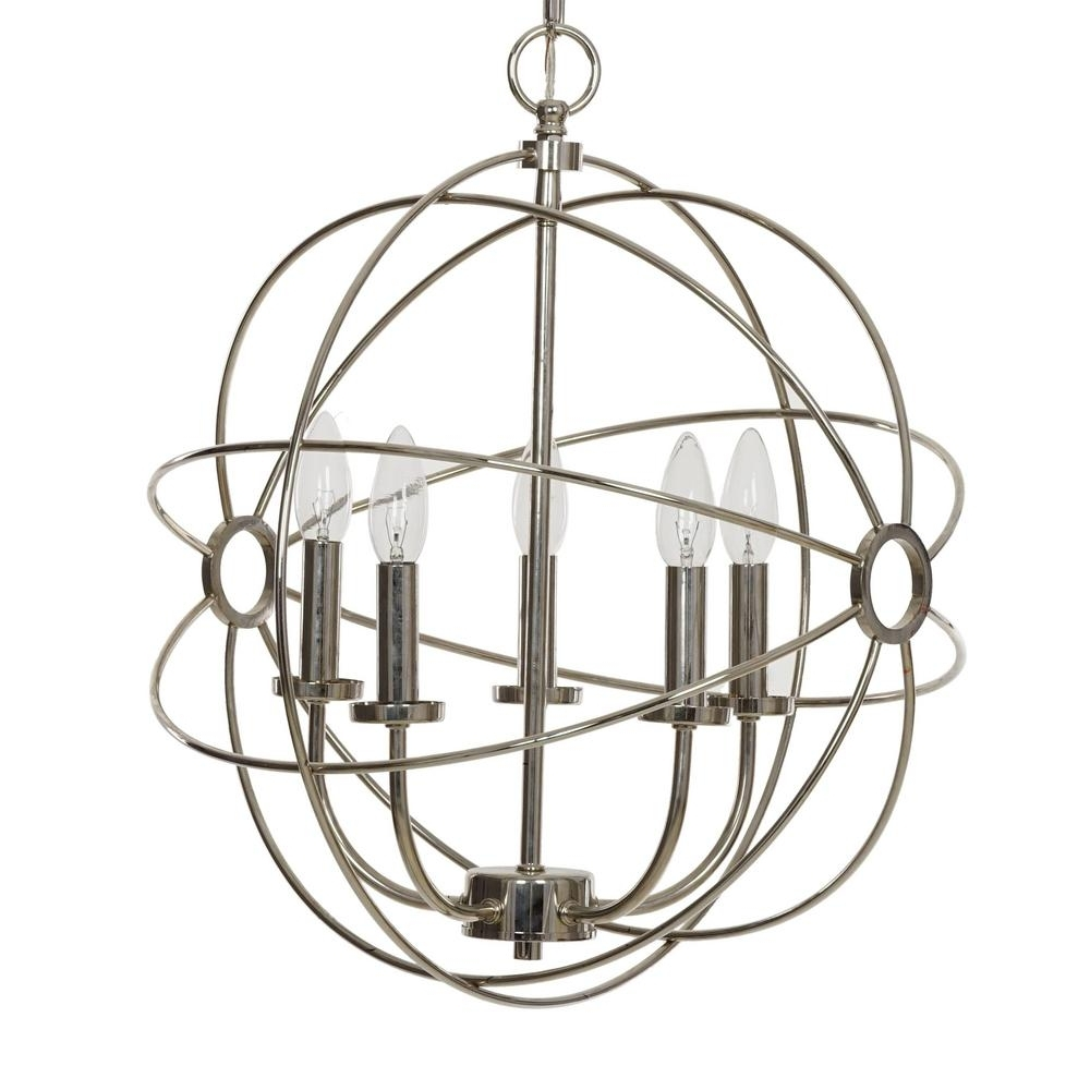 Orb Chandelier With Regard To 2018 Catalina Lighting 5 Light Chrome Orb Chandelier 20069 000 – The Home (View 2 of 15)