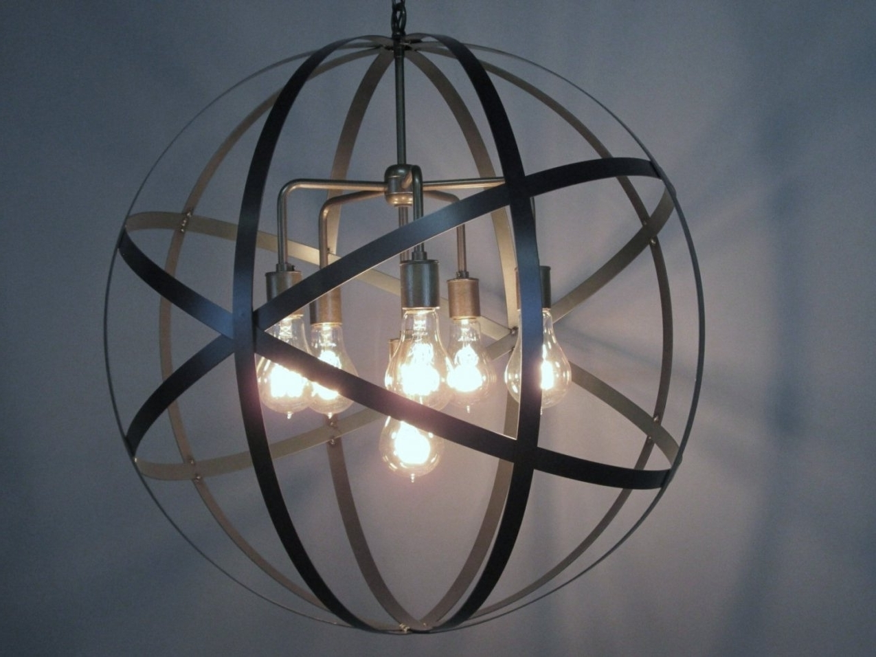Orb Chandeliers Throughout Most Popular Accessories: Globe Metal Design Orb Chandelier With Lights Bulb (View 7 of 15)