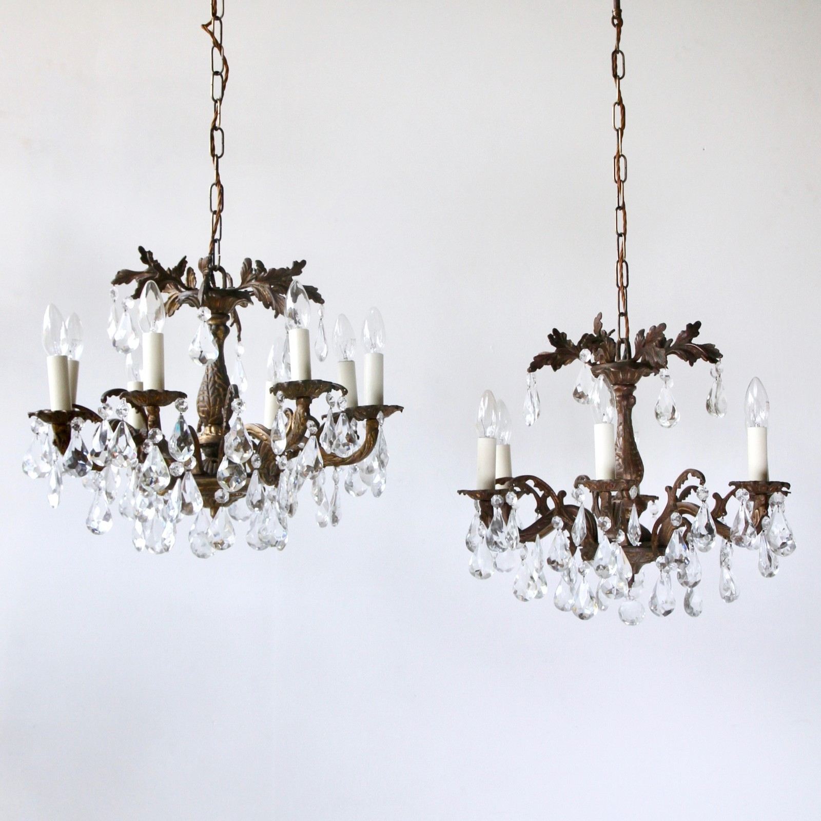 Ornate Brass Chandeliers Dressed In Cut Crystal Pear Drops (View 7 of 15)