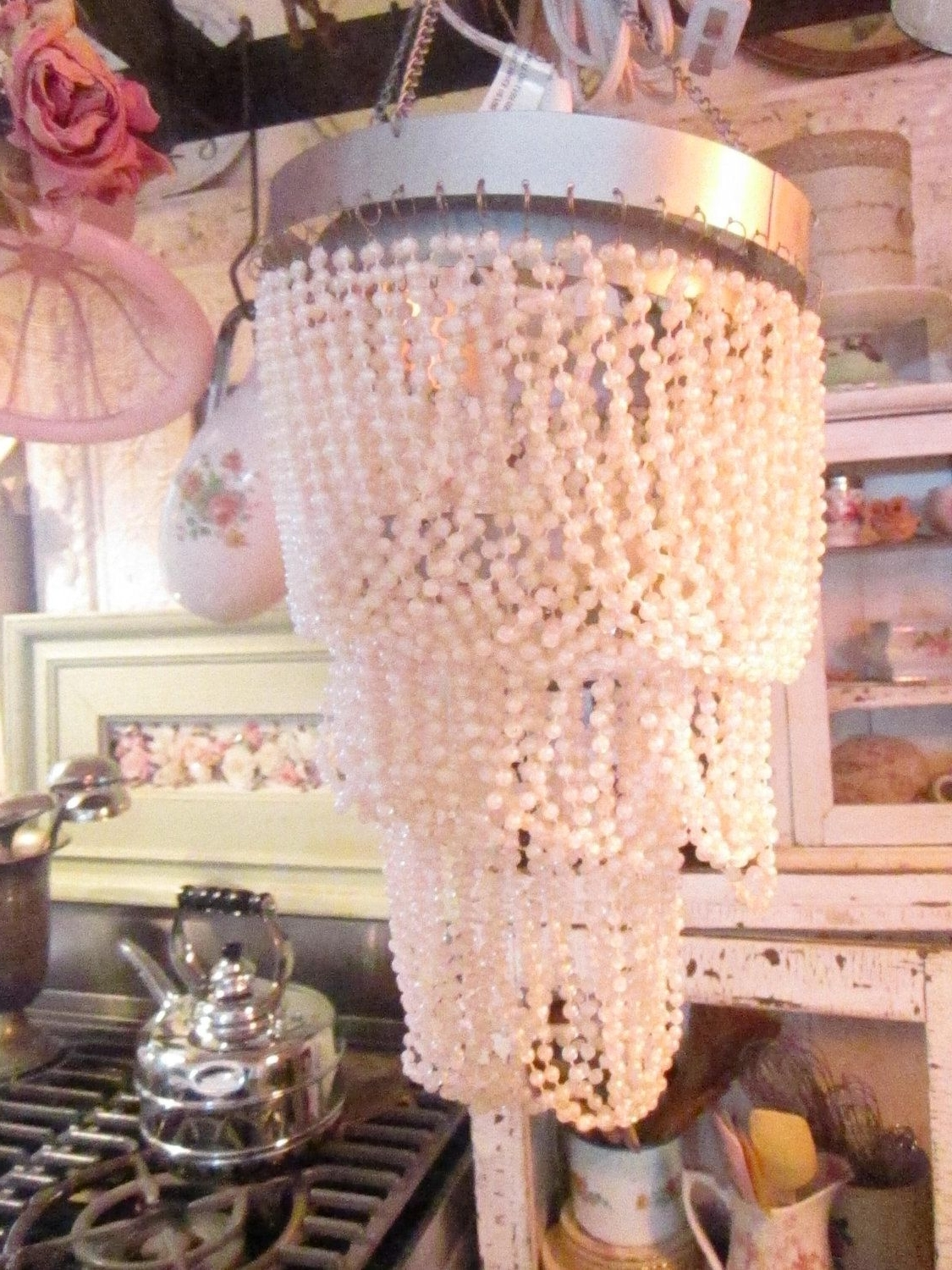Ornate Chandeliers Regarding Well Liked Shabby Chic Pair Beaded Pearls Ornate Chandeliers Shabby Chic (View 13 of 15)