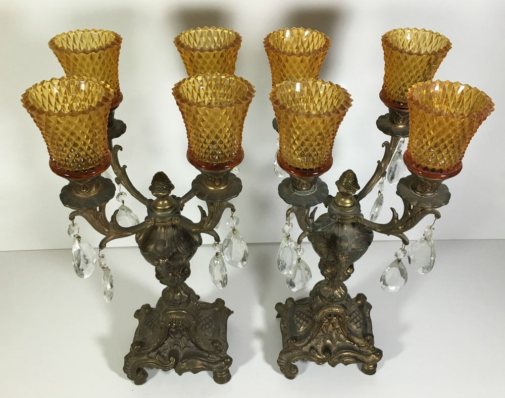 Ornate Chandeliers With 2018 Antique Brass Candlestick Holders Candelabra Set Of 2 Ornate 4 Arm (View 10 of 15)