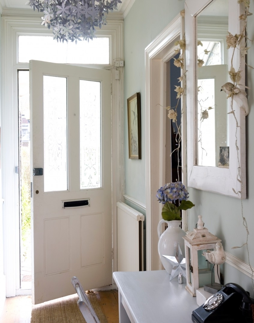 Pale Green Hallway With Silver Floral Chandelier Maximise Your Small Throughout Most Current Small Hallway Chandeliers (View 5 of 15)