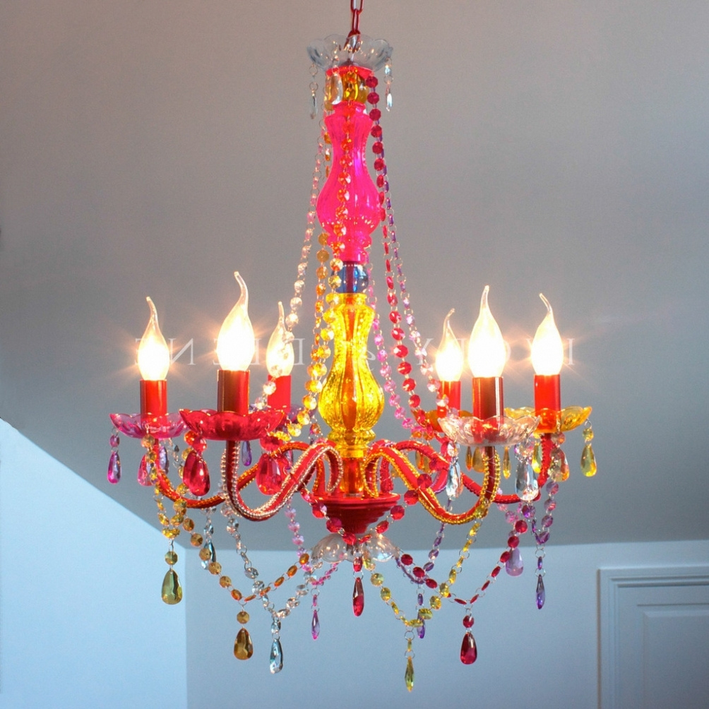 Pendant Lights ~ Gypsy Multi Coloured Retro 6 Light Chandelier With Popular Gypsy Chandeliers (View 10 of 15)