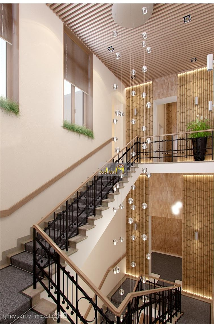 Phube Lighing Led Meteor Shower Crystal Chandelier Light Fixtures With Most Recent Stairwell Chandelier (View 4 of 15)