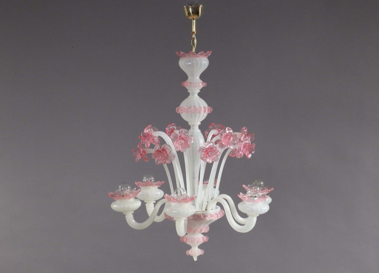 Pink And White Blown Glass Chandelier From Murano, 1940S For Sale At Intended For 2017 Glass Chandelier (View 10 of 15)