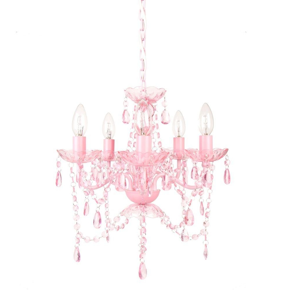 Pink Plastic Chandeliers In Well Known Tadpoles 5 Light White Diamond Chandelier Cch5Pl010 – The Home Depot (View 4 of 15)