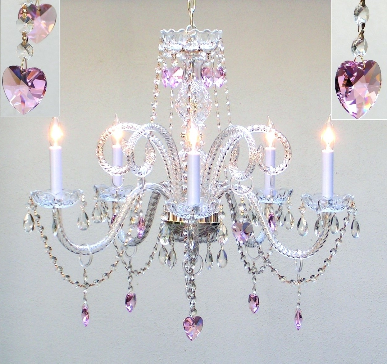 Pink Plastic Chandeliers Intended For Current Light : Lamp Create An Adorable Room For Your Gallery With (View 13 of 15)