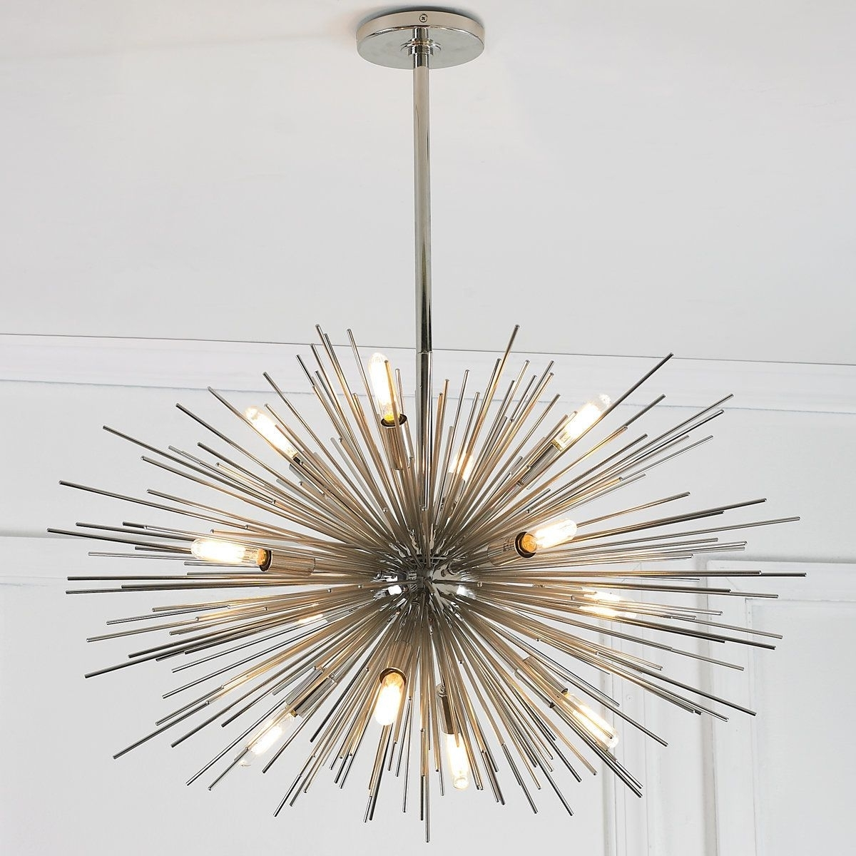 Polished Nickel With Modern Chandelier (View 3 of 15)
