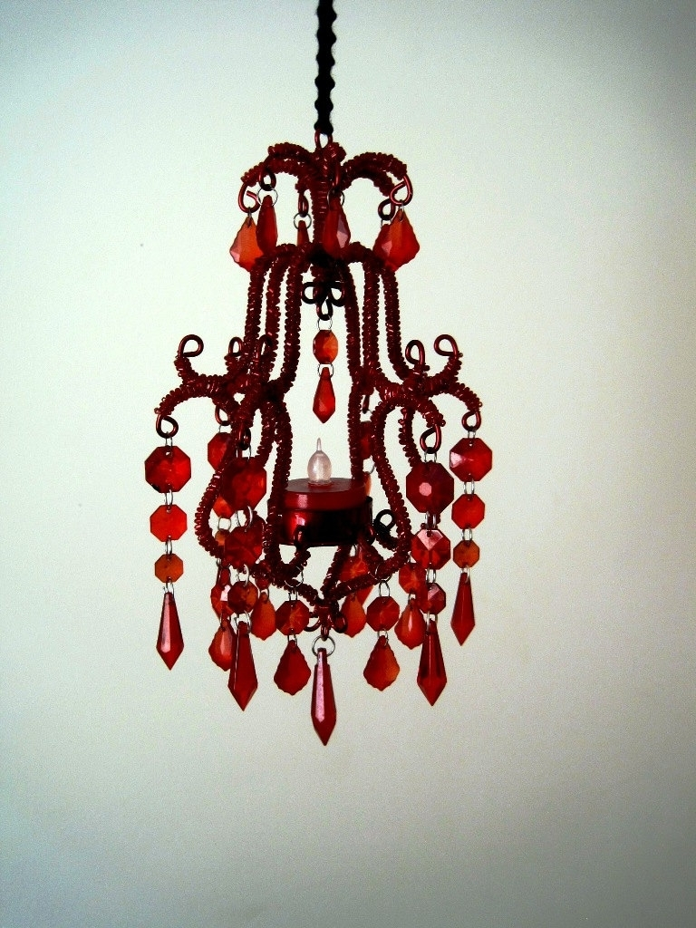 Popular Accessories: Astounding Home Interior Pendant Lamp Decoration Design Within Small Red Chandelier (View 9 of 15)