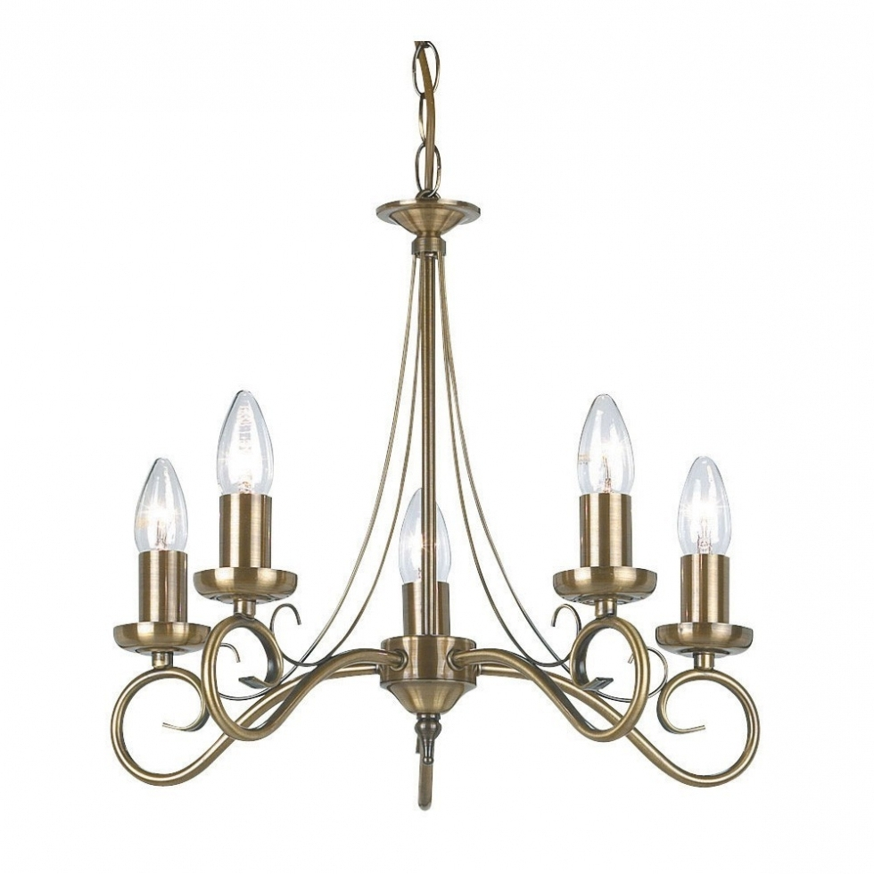 Popular Endon Lighting Chandeliers Regarding Chandelier ~ Endon 180 5An 5 Light Chandelier In Antique Brass From (View 10 of 15)