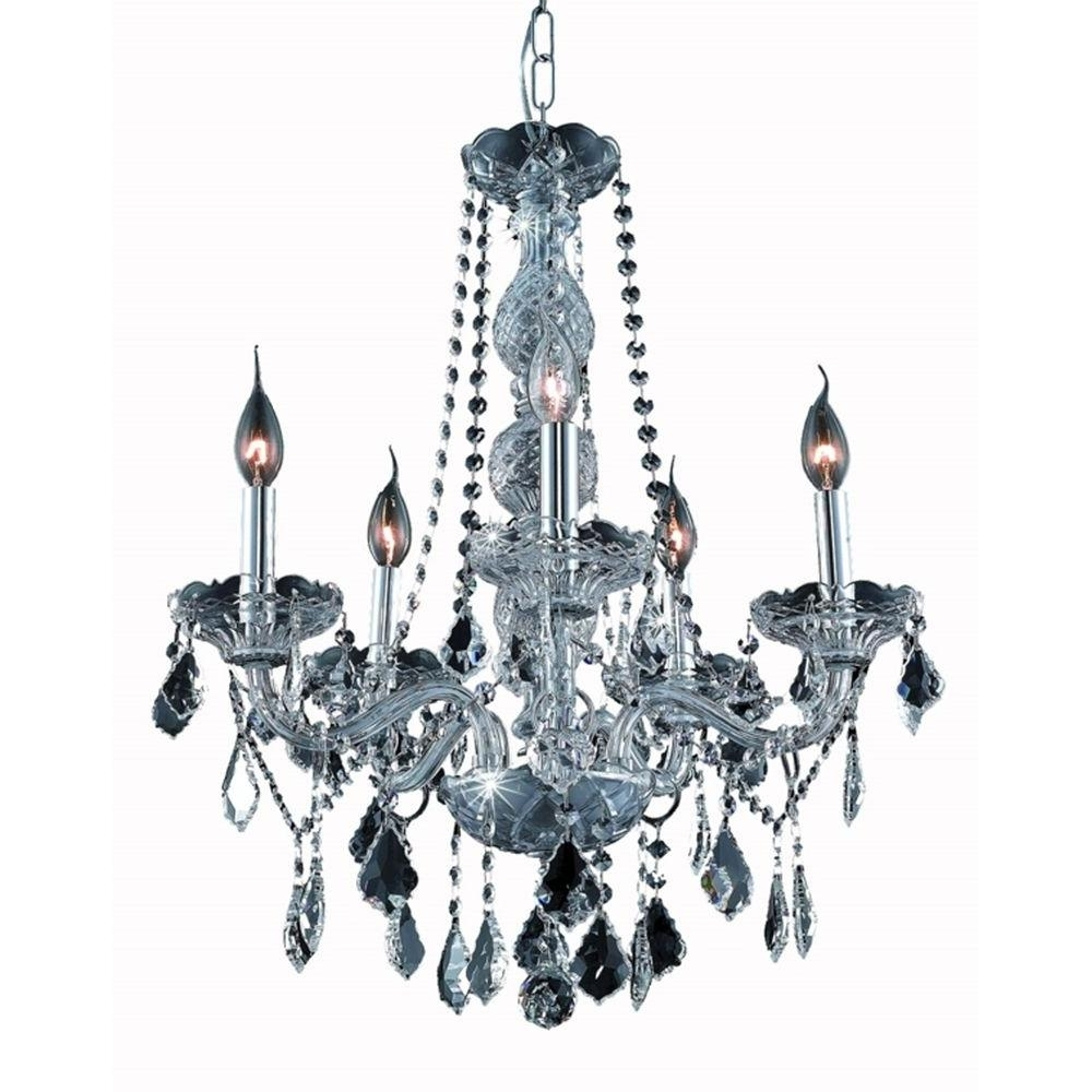 Popular Grey Chandeliers Within Elegant Lighting 5 Light Silver Chandelier With Grey Crystal (View 12 of 15)