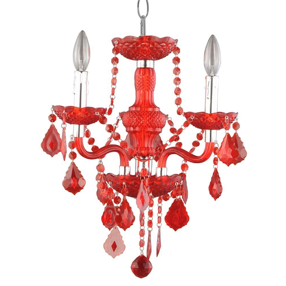 Popular Hampton Bay Maria Theresa 3 Light Chrome And Clear Acrylic Mini Throughout Red Chandeliers (View 6 of 15)