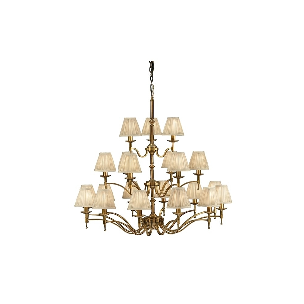 Popular Large Brass Chandelier Pertaining To 21 Light Antique Brass Chandelier With Beige Candle Clip Shades (View 15 of 15)