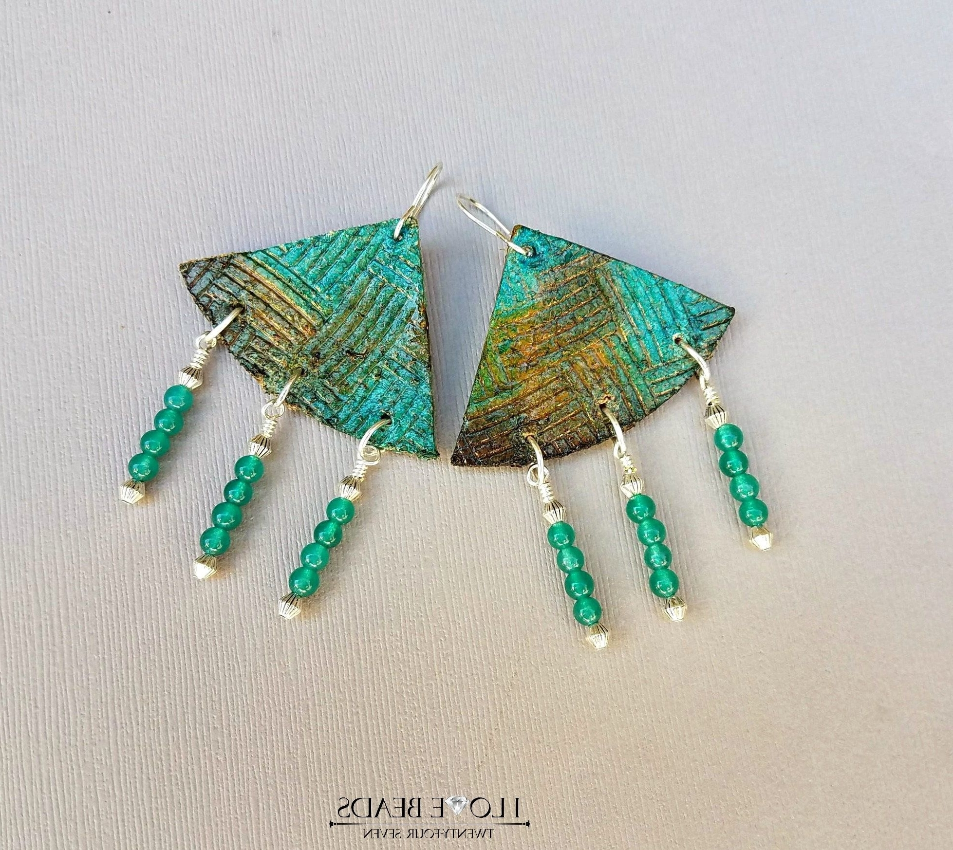 Popular Leather Embossed Chandelier Earrings With Green Jade//triangle For Leather Chandeliers (View 15 of 15)