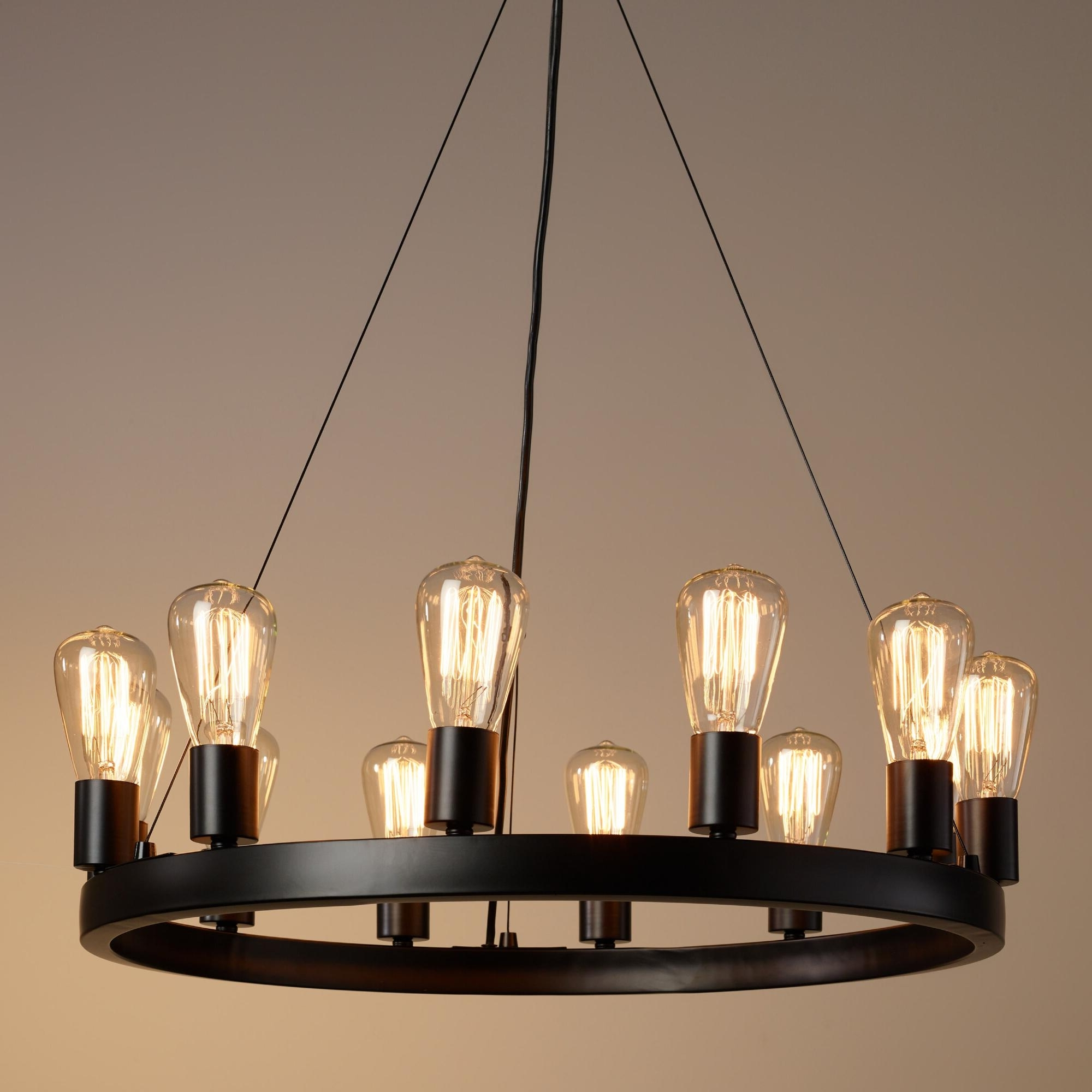 Popular Light : Amazing Round Light Edison Bulb Chandelier With Additional Intended For Small Rustic Chandeliers (View 11 of 15)