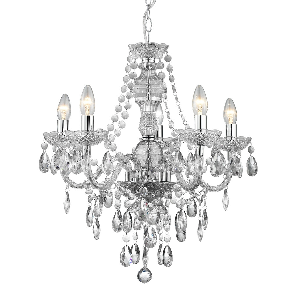 Popular Marie Clear Acrylic Glass Droplet Chandelier In Glass Droplet Chandelier (View 2 of 15)