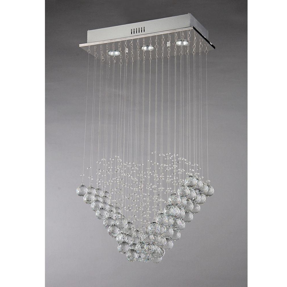 Popular Modern Chrome Chandelier In Warehouse Of Tiffany Amanda Modern 3 Light Chrome Chandelier With (View 14 of 15)