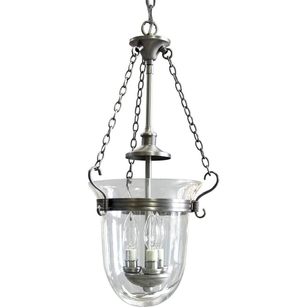 Popular Progress Lighting Essex Collection 3 Light Antique Nickel Foyer Pertaining To Inverted Pendant Chandeliers (View 11 of 15)