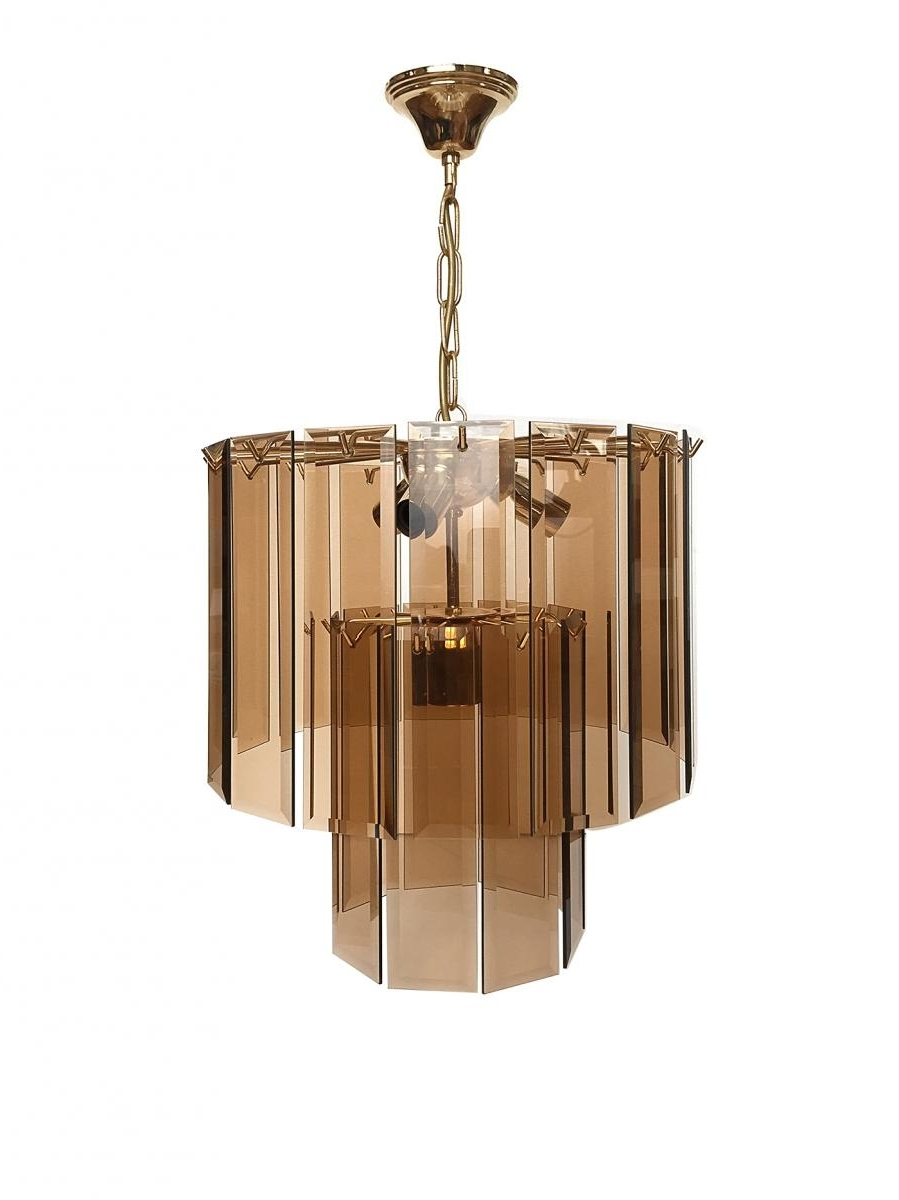 Popular Smoked Glass Chandelier Throughout Pendant Chandelier In Smoked Glass And Brass, 1970S For Sale At Pamono (View 5 of 15)