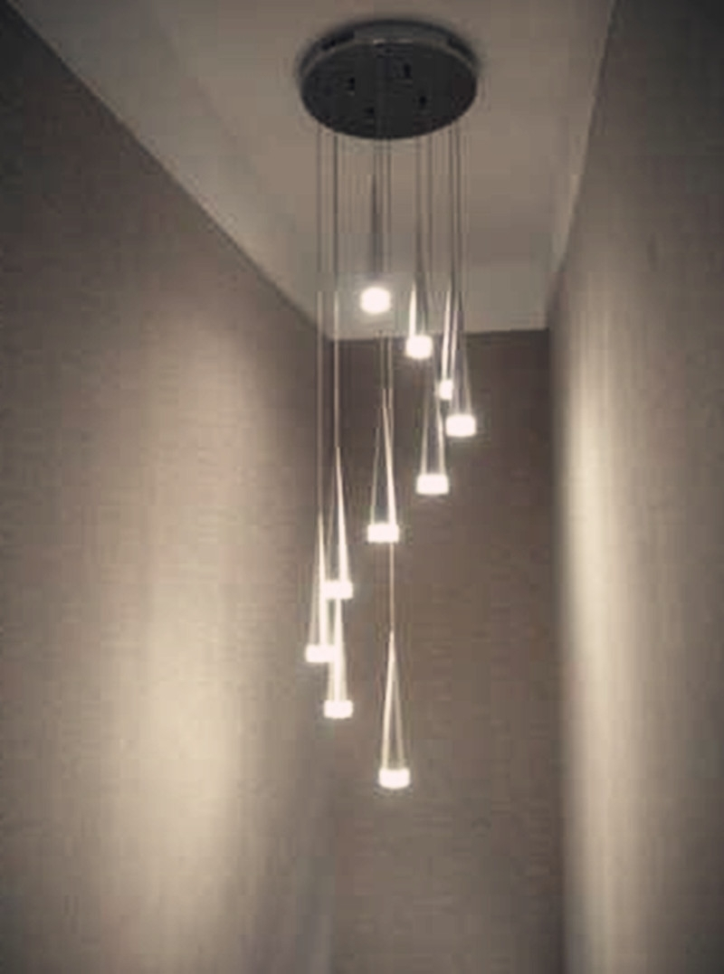 Popular Stairwell Chandeliers Pertaining To Online Shop 10 24 Pcs Taper Led Spiral Stair Chandelier Lamp Hot (View 11 of 15)