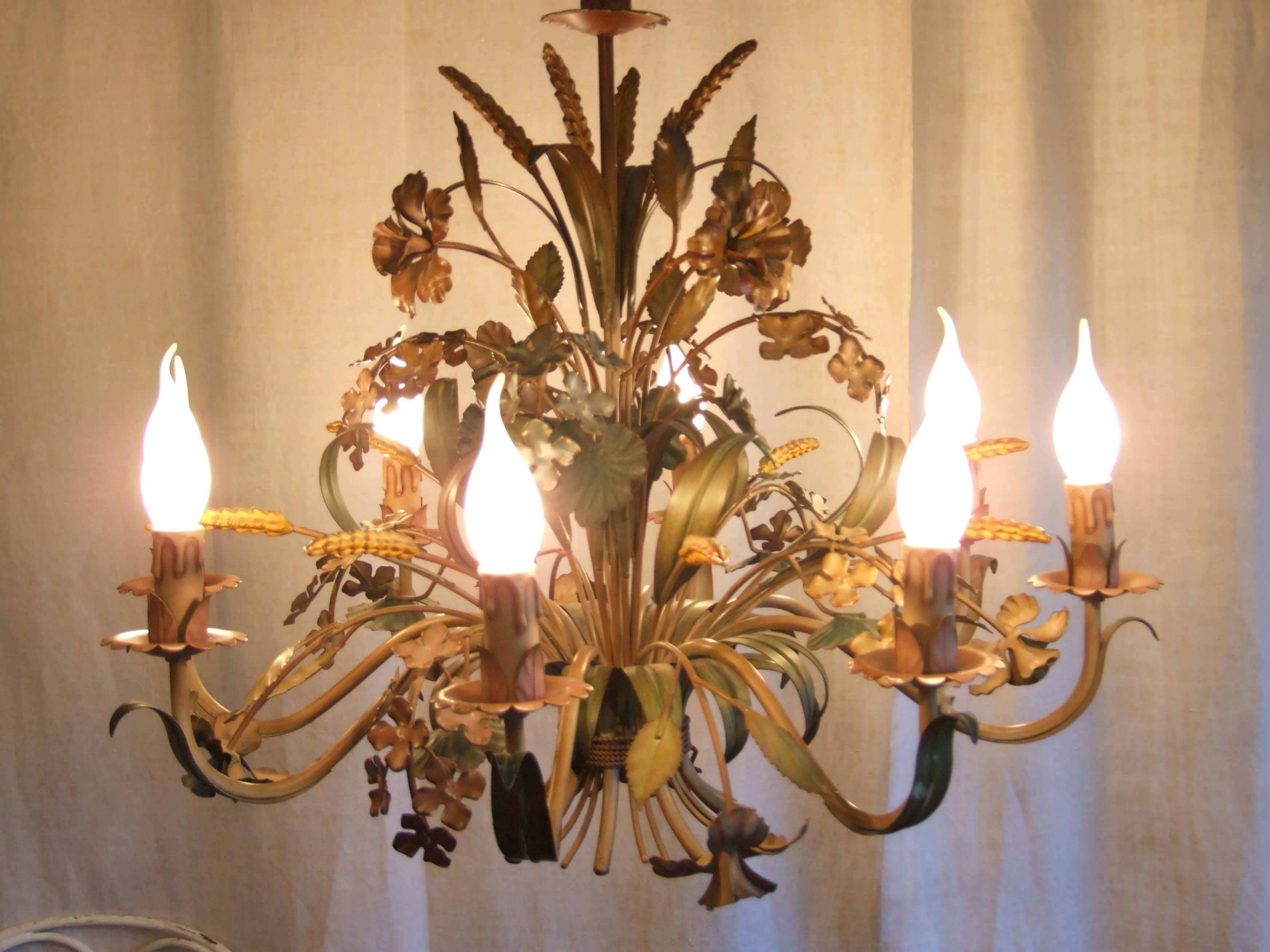 Popular Vintage Italian Chandeliers Intended For Chandeliers : Vintage Floral Chandeliers Metal Flower Chandelier (View 7 of 15)