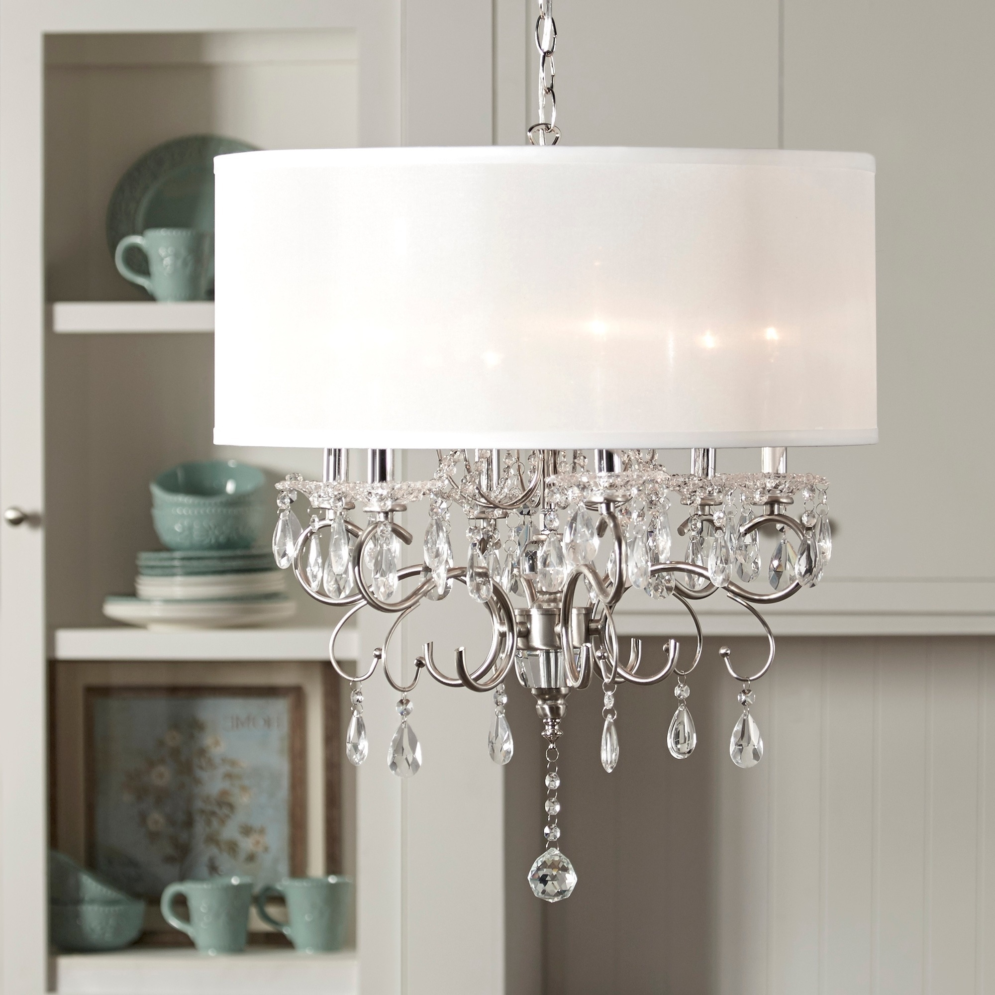 Popular Wall Mounted Chandelier Lighting Regarding Lighting: Crystal Drum Light Pendant With Wall Mount Shelves For (Gallery 11 of 15)