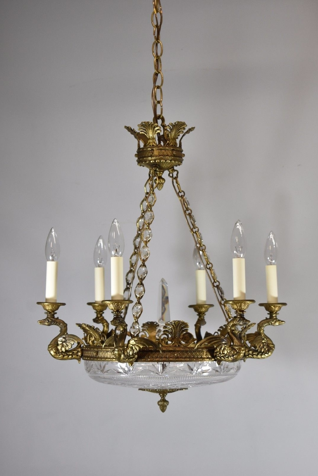 Preferred Antique Bronze French Empire Six Arm Chandelier With Dragons And Cut Inside French Glass Chandelier (View 8 of 15)