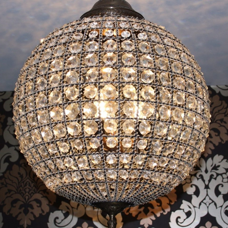 Preferred Chandeliers : Crystal Globe Chandelier Bronze Examples Collection Pertaining To Globe Crystal Chandelier (View 14 of 15)