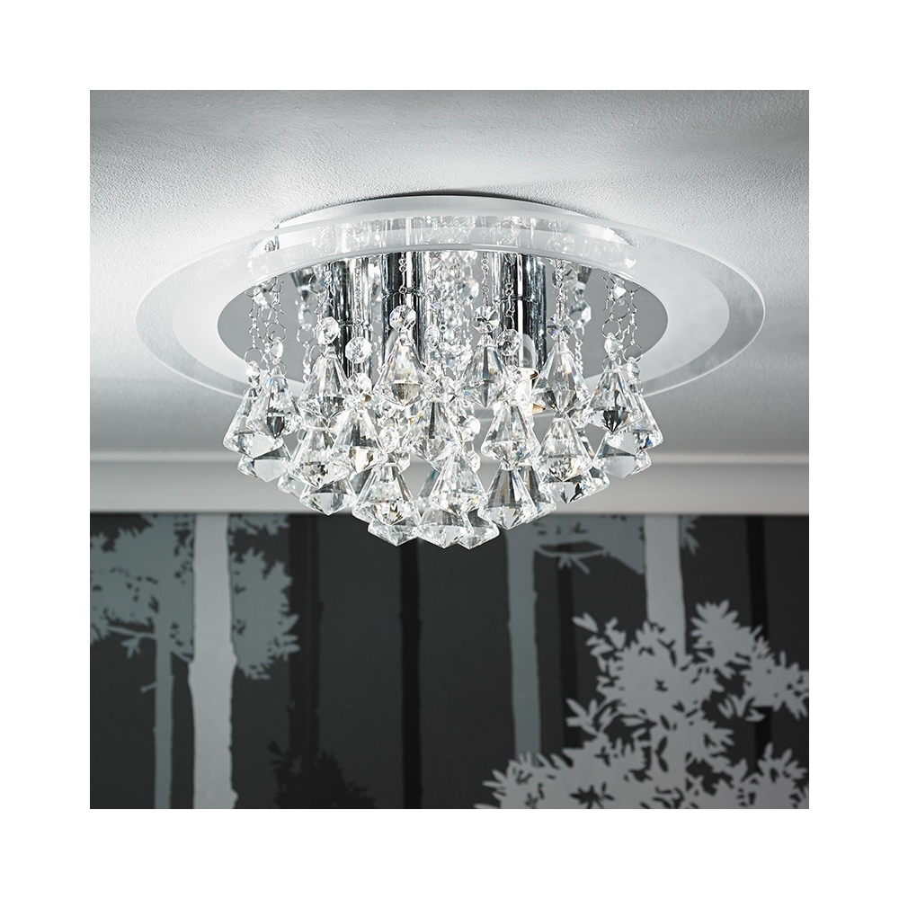 Preferred Endon Renner 6Ch 6 Light Semi Flush Chrome & Crystal Ceiling Light With Regard To Flush Chandelier Ceiling Lights (View 8 of 15)